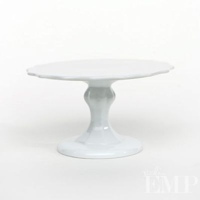 White Scalloped Stoneware Cake Stand