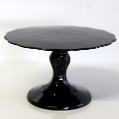 Small Black Scalloped Pedestal