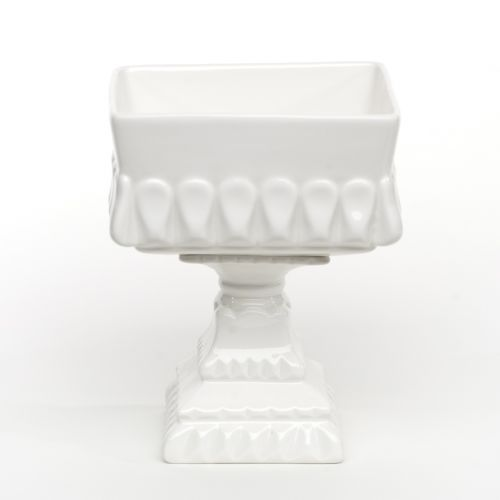 White Footed Square Bowl